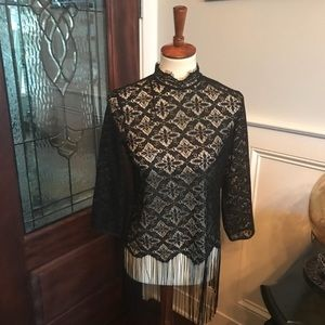 Zara Lace Fringe Top Size Small